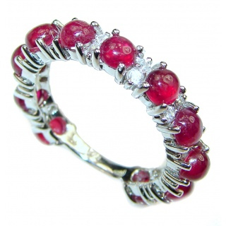 Genuine 2.8 ctw Kashmir Ruby .925 Sterling Silver handcrafted Statement Ring size 9