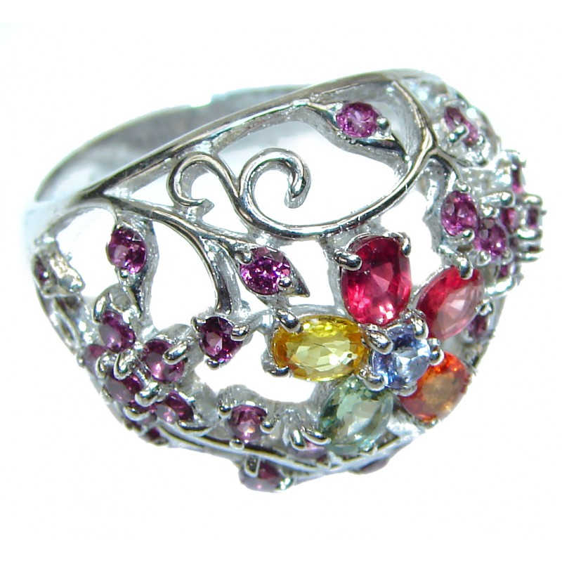 Classy Style genuine Garnet multicolor Sapphire .925 Sterling Silver handcrafted Ring size 8