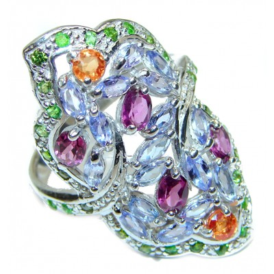 Bouquet of Flowers Authentic Tanzanite .925 Sterling Silver handmade Ring s. 8 1/2