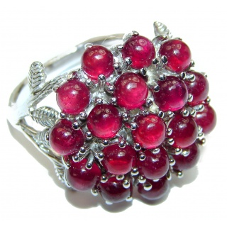 Dazzling natural Red Ruby & .925 Sterling Silver handcrafted ring size 8 1/4
