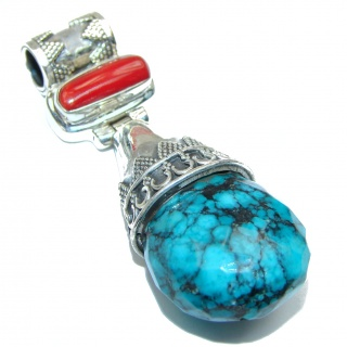 Blue authentic Turquoise .925 Sterling Silver handmade Pendant