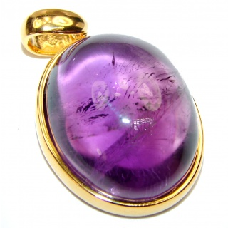 Lilac Blessings spectacular 57.5ct Amethyst 18K Gold over .925 Sterling Silver handcrafted pendant