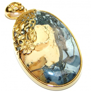 Fabulous Porcelain Jasper -stone of gentleness and relaxation- Sterling Silver pendant
