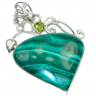 Top Quality Malachite .925 Sterling Silver handmade Pendant