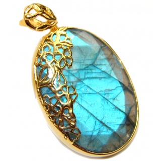 Blue Fire faceted Labradorite .925 Sterling Silver handcrafted Pendant