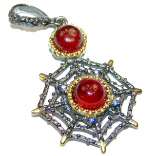 Fancy Spider Garnet 14K Gold over .925 Sterling Silver handmade pendant