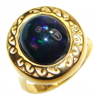 Vintage Design 5ctw Genuine Black Opal 18K Gold over .925 Sterling Silver handmade Ring size 7