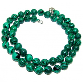 lab. created Malachite .925 Sterling Silver handmade station Necklace