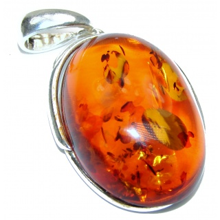 Cognac natural Baltic Amber .925 Sterling Silver handmade Pendant
