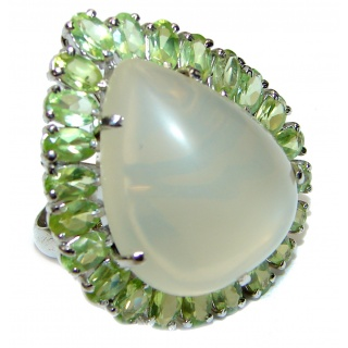 Huge Amazing Golden Calcite Peridot .925 Sterling Silver Ring s. 7 3/4