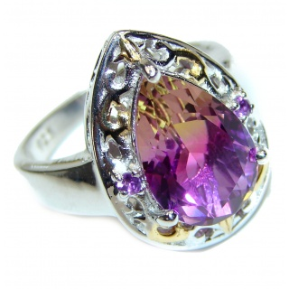 Pear cut Ametrine 18K Gold over .925 Sterling Silver handcrafted Ring s. 9 1/4