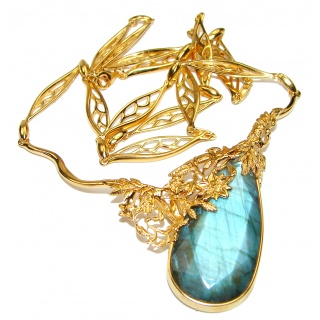 Luxury Design 88.5 ct faceted Labradorite 18K Gold over .925 Sterling Silver entirely handcrafted necklace