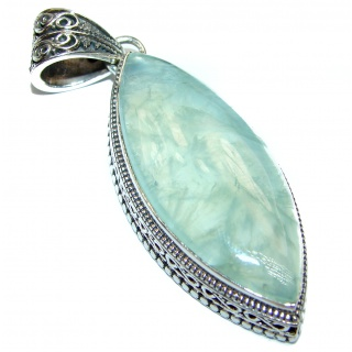 Huge Royal Natural Moss Prehnite .925 Sterling Silver handmade Pendant