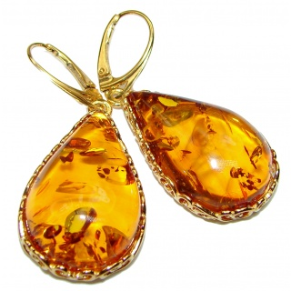 Big Authentic Baltic Amber Gold over .925 Sterling Silver handmade Earrings