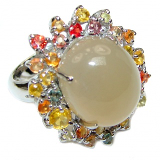Huge Amazing Golden Calcite multicolor Sapphire .925 Sterling Silver Ring s. 9