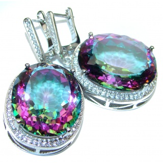 Spectacular Genuine Alexandrite .925 Sterling Silver HUGE earrings
