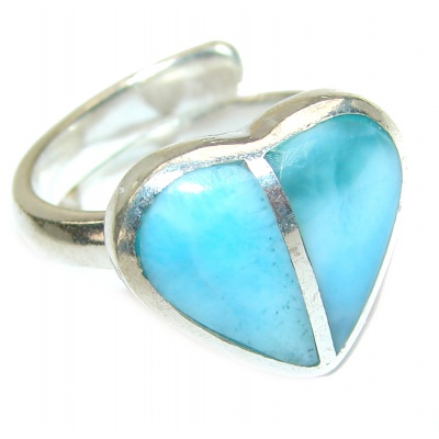Blue Larimar Angel's Heart .925 Sterling Silver handcrafted Ring s. 7 adjustable