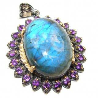 Blue Fire Labradorite Amethyst 2 tones .925 Sterling Silver handcrafted Pendant