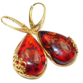 Authentic Baltic Amber Gold over .925 Sterling Silver handmade Earrings