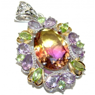 Deluxe oval cut Bi-color Ametrine color Topaz .925 Sterling Silver handmade Pendant