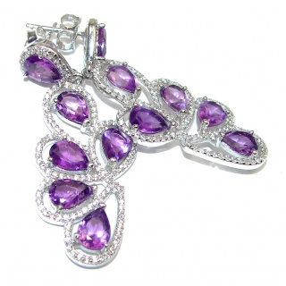 Posh Authentic Amethyst .925 Sterling Silver handcrafted earrings