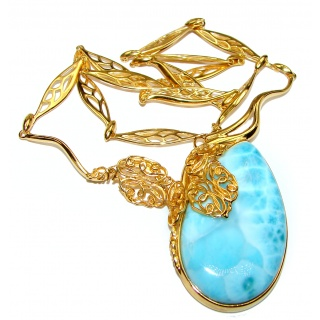 Great Masterpiece 57.8 grams genuine AAAAA QUALITY Larimar 24K Gold over .925 Sterling Silver handmade necklace