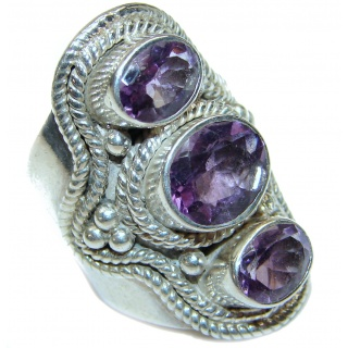 Authentic Amethyst .925 Sterling Silver brilliantly handcrafted ring s. 6