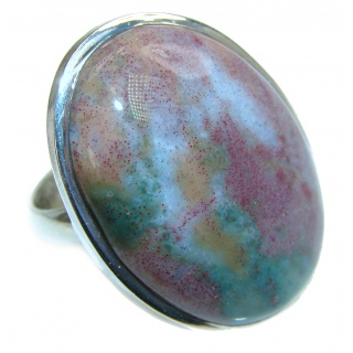 Huge Plum Agate Sterling Silver Ring s. 8