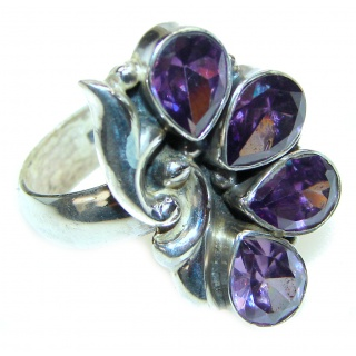Authentic Amethyst .925 Sterling Silver brilliantly handcrafted ring s. 8