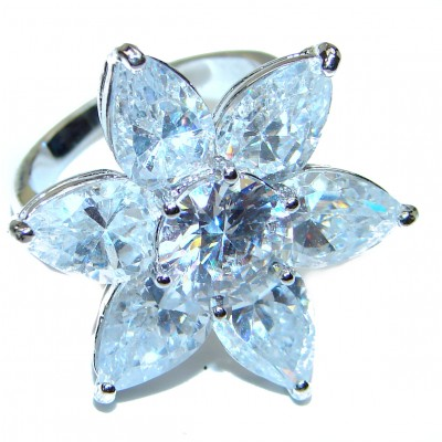 Fancy White Topaz .925 Sterling Silver handmade Ring s. 5 1/4