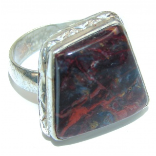 Silky Black Pietersite .925 Sterling Silver handmade Ring size 9