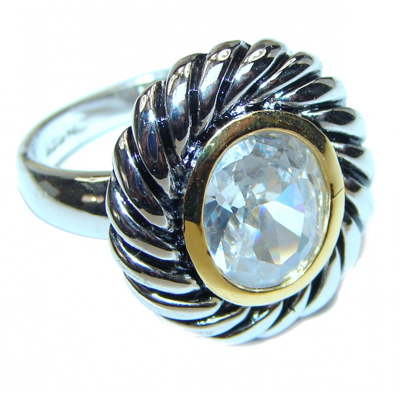 Fancy White Topaz two tones .925 Sterling Silver handmade Ring s. 7