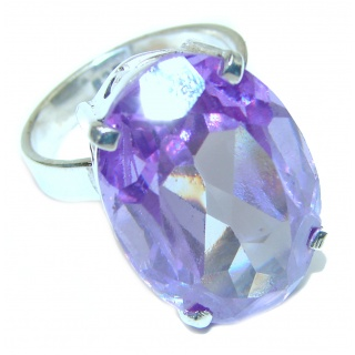 55ctw Purple Perfection Quartz .925 Sterling Silver Ring size 8