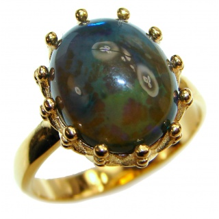 Vintage Design 2.5ctw Genuine Black Opal 18K Gold over .925 Sterling Silver handmade Ring size 6