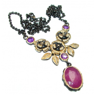 Victorian Style Kashmir natural Ruby .925 Sterling Silver handmade necklace