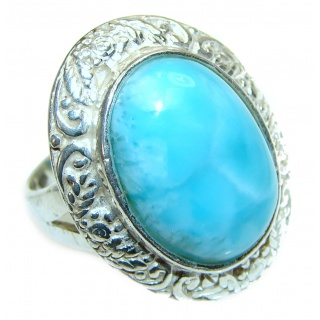 Large Vintage Design Natural Larimar .925 Sterling Silver handcrafted Ring s. 8