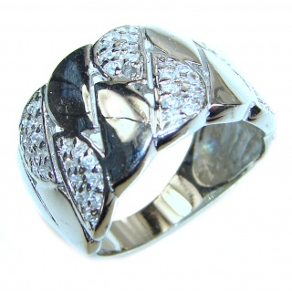 Fancy White Topaz .925 Sterling Silver handmade Ring s. 6 3/4