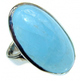 Real Treasure GENUINE Blue Aquamarine .925 Sterling Silver handmade ring s. 5 3/4