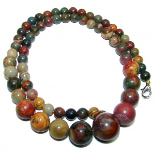 Massive best quality Jasper .925 Sterling Silver handmade Necklace