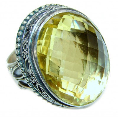 LARGE Design Citrine .925 Sterling Silver handmade ring size 9