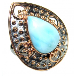 Vintage Design Natural Larimar .925 Sterling Silver handcrafted Ring s. 8 adjustable