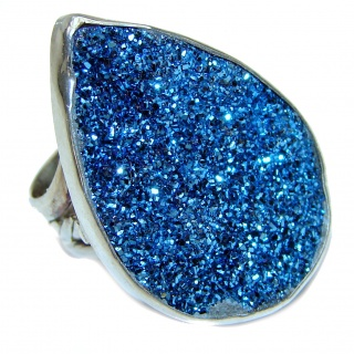 Huge Exotic Titanium Druzy Agate Sterling Silver Ring s. 6