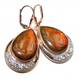 Large Orange Aura AAA Canadian Fire Ammolite .925 Sterling Silver handmade earrings