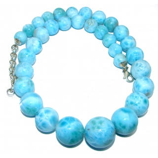 One of the kind 96.8 grams Nature inspired Larimar .925 Sterling Silver handmade necklace