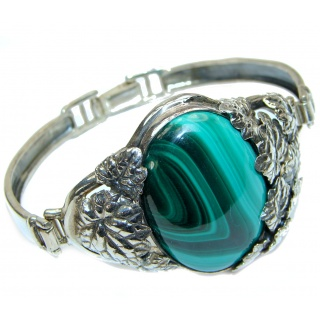 Eternal Paradise 35.5 grams Natural Malachite highly polished .925 Sterling Silver handcrafted Bracelet