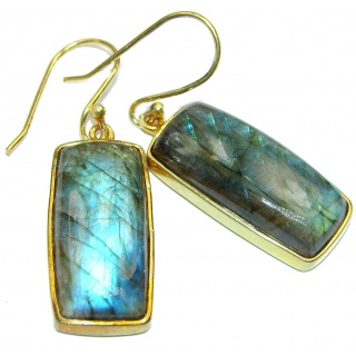 Genuine Labradorite 18K Gold over .925 Sterling Silver earrings