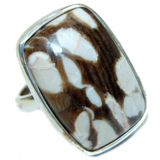 Huge Exotic Petrified Palm Wood Sterling Silver Ring s. 7 adjustable