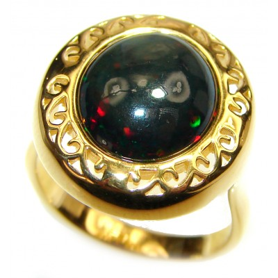Vintage Design 5ctw Genuine Black Opal 18K Gold over .925 Sterling Silver handmade Ring size 7 3/4