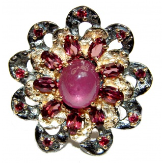 Genuine Ruby 18K Gold black rhodium .925 Sterling Silver handcrafted Statement Ring size 7