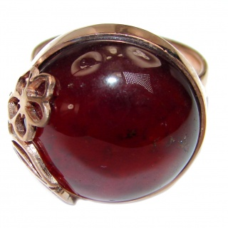 Genuine Garnet 18K Rose Gold over .925 Sterling Silver handmade Cocktail Ring s. 8